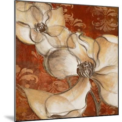 Whispering Magnolia on Red II-Lanie Loreth-Mounted Art Print