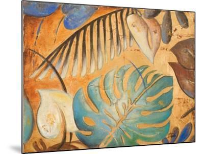 Gold and Aqua Leaves I-Patricia Pinto-Mounted Premium Giclee Print