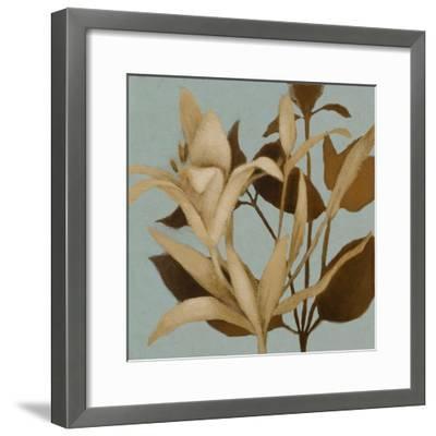 Foliage on Teal II-Lanie Loreth-Framed Premium Giclee Print
