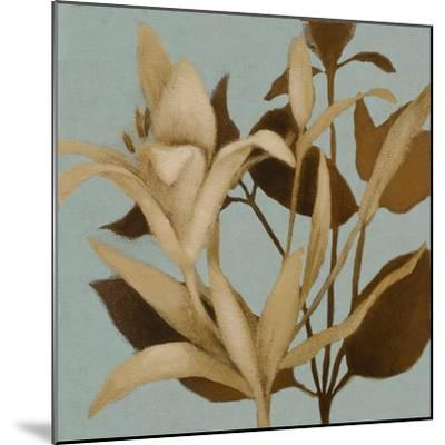 Foliage on Teal II-Lanie Loreth-Mounted Premium Giclee Print