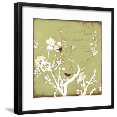 Song Birds II - Green-Amy Melious-Framed Premium Giclee Print