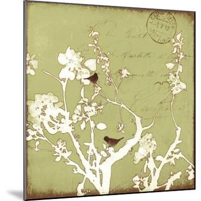 Song Birds II - Green-Amy Melious-Mounted Premium Giclee Print