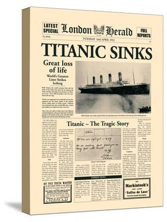 Titanic Sinks-The Vintage Collection-Stretched Canvas Print