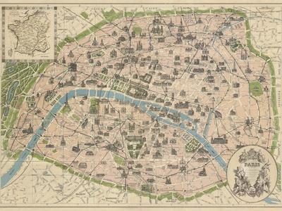 Vintage Paris Map-The Vintage Collection-Framed Premium Giclee Print
