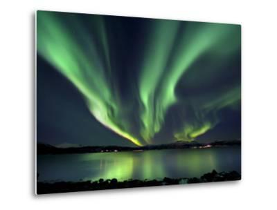 Aurora Borealis over Tjeldsundet in Troms County, Norway-Stocktrek Images-Metal Print