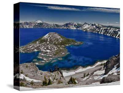 Crater Lake and Wizard Island, Looking East Toward Mount Scott on Far Side-Ellen Bishop-Stretched Canvas Print