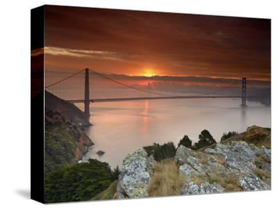 Golden Gate Bridge at Sunset under Foggy and Cloudy Skies, San Francisco Bay, California, USA-Patrick Smith-Stretched Canvas Print