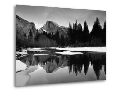 Half Dome Above River and Winter Snow, Yosemite National Park, California, USA-David Welling-Metal Print