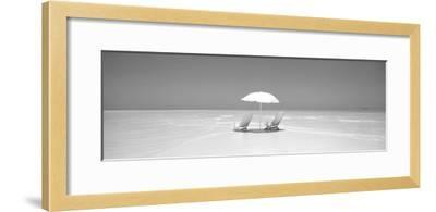 Beach, Ocean, Water, Parasol and Chairs, Maldives--Framed Photographic Print