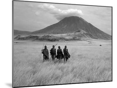 Maasai Warriors Stride across Golden Grass Plains at Foot of Ol Doinyo Lengai, 'Mountain of God'-Nigel Pavitt-Mounted Premium Photographic Print