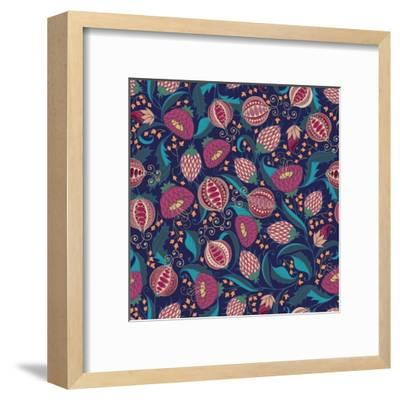 Pomegranate Pattern-Jallom-Framed Art Print