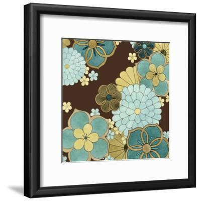 Cascading Blooms in Teal II-Erica J^ Vess-Framed Art Print