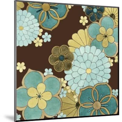 Cascading Blooms in Teal II-Erica J^ Vess-Mounted Art Print
