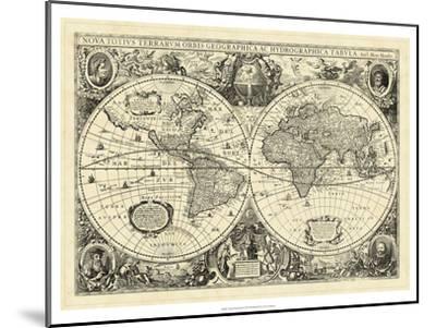 Vintage World Map--Mounted Art Print