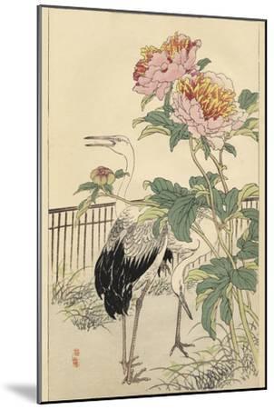 Crane and Peony-Bairei-Mounted Art Print