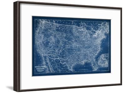 US Map Blueprint-Vision Studio-Framed Art Print