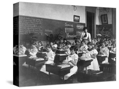 Elementary School Girls Learning Sewing--Stretched Canvas Print