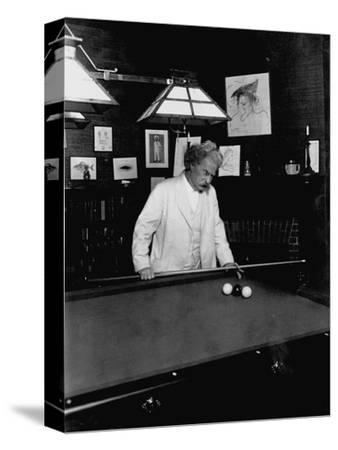 Mark Twain Playing Game of Pool--Stretched Canvas Print