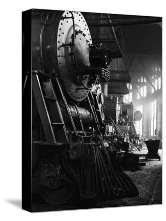Locomotives in Roundhouse-Jack Delano-Stretched Canvas Print