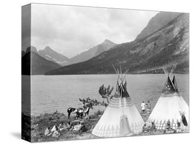 Teepee,Indians on Shore of Lake-Philip Gendreau-Stretched Canvas Print