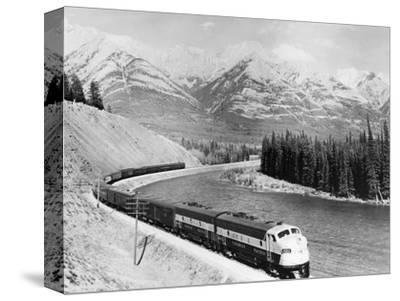 View of Moving Train--Stretched Canvas Print
