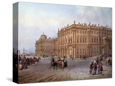 View of the Winter Palace in Saint Petersburg in 1843 by Vasily Sodovnikof--Stretched Canvas Print