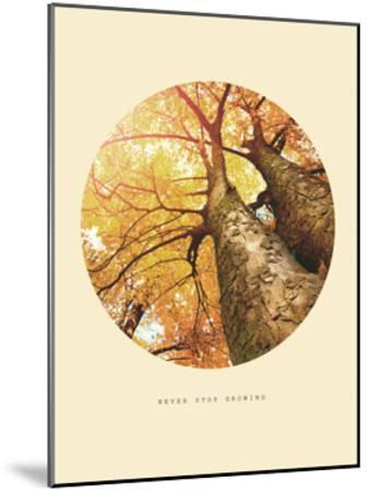 Inspirational Circle Design - Autumn Trees: Never Stop Growing-Subbotina Anna-Mounted Giclee Print