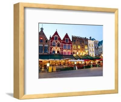 Cafes in Marketplace in Downtown Bruges, Belgium-Bill Bachmann-Framed Photographic Print