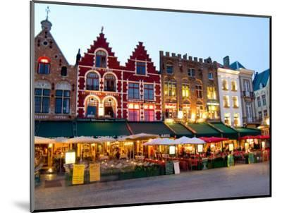 Cafes in Marketplace in Downtown Bruges, Belgium-Bill Bachmann-Mounted Photographic Print