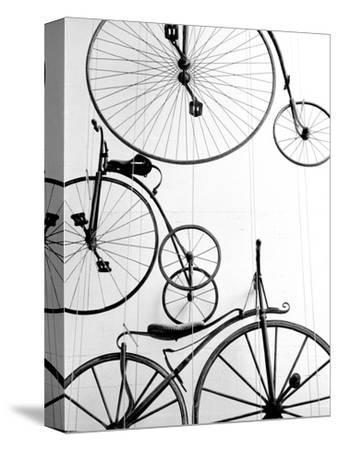 Bicycle Display at Swiss Transport Museum, Lucerne, Switzerland-Walter Bibikow-Stretched Canvas Print
