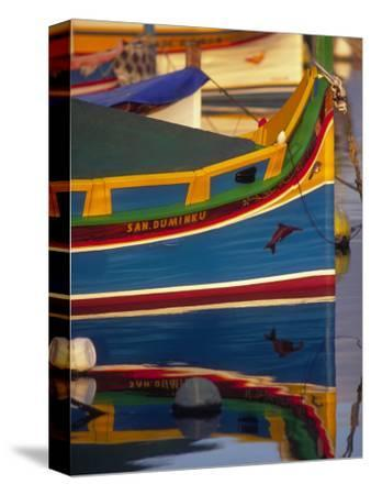 Colorful Fishing Boat Reflecting in Water, Malta-Robin Hill-Stretched Canvas Print