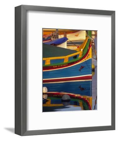 Colorful Fishing Boat Reflecting in Water, Malta-Robin Hill-Framed Photographic Print