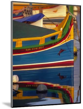 Colorful Fishing Boat Reflecting in Water, Malta-Robin Hill-Mounted Photographic Print