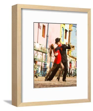 Tango Dancers on Caminito Avenue, La Boca District, Buenos Aires, Argentina-Stuart Westmoreland-Framed Photographic Print