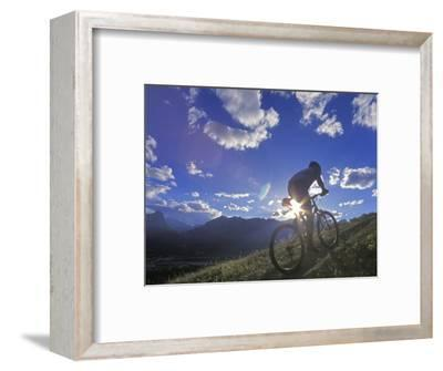 Mountain Biker at Sunset, Canmore, Alberta, Canada-Chuck Haney-Framed Photographic Print