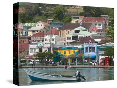 Shops, Restaurants and Wharf Road, The Carenage, Grenada, Caribbean-Walter Bibikow-Stretched Canvas Print