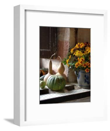 Gourds and Flowers in Kitchen in Chateau de Cormatin, Burgundy, France-Lisa S^ Engelbrecht-Framed Photographic Print