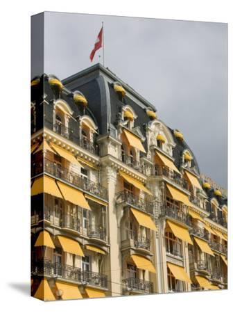 Le Montreux Place Hotel on Lake Geneva, Montreux, Swiss Riviera, Vaud, Switzerland-Walter Bibikow-Stretched Canvas Print