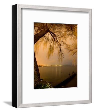 City Lights across Lake Rotorua, Rotorua, Bay of Plenty, North Island, New Zealand-David Wall-Framed Photographic Print