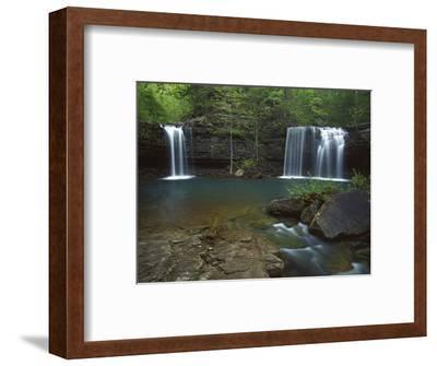 Twin Falls on Devil's Fork Richland Creek Wilderness, Ozark- St Francis National Forest, Arkansas, -Charles Gurche-Framed Photographic Print