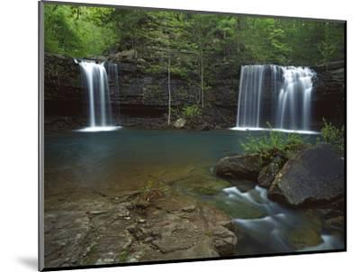 Twin Falls on Devil's Fork Richland Creek Wilderness, Ozark- St Francis National Forest, Arkansas, -Charles Gurche-Mounted Photographic Print