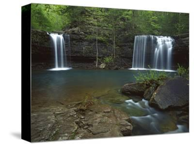 Twin Falls on Devil's Fork Richland Creek Wilderness, Ozark- St Francis National Forest, Arkansas, -Charles Gurche-Stretched Canvas Print
