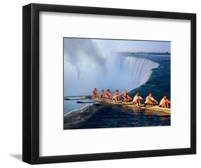 Rowers Hang Over the Edge at Niagra Falls, US-Canada Border-Janis Miglavs-Framed Photographic Print