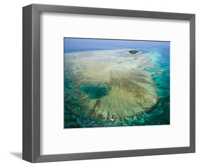 Aerial View of Green Island, The Great Barrier Reef, Cairns Area, North Coast, Queensland-Walter Bibikow-Framed Photographic Print