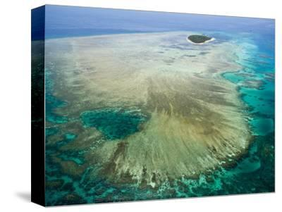 Aerial View of Green Island, The Great Barrier Reef, Cairns Area, North Coast, Queensland-Walter Bibikow-Stretched Canvas Print