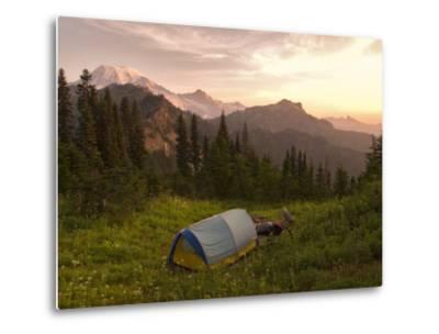 Blue backpacking tent in the Tatoosh Wilderness, Washington State, USA-Janis Miglavs-Metal Print