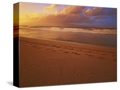 Sunset at DT Fleming State Beach, Maui, Hawaii, USA-Charles Gurche-Stretched Canvas Print
