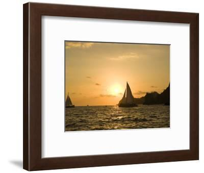 Sailboat at Sunset, Bay of Land's End (El Arco),Cabo San Lucas, Baja, Mexico-Michele Westmorland-Framed Photographic Print