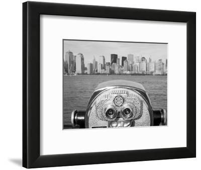 Coin Operated Binoculars Pointed at Manhattan Skyline, Hudson River, Jersey City, New Jersey, Usa-Paul Souders-Framed Photographic Print