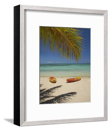 Kayaks on the Beach, Plantation Island Resort, Malolo Lailai Island, Mamanuca Islands, Fiji-David Wall-Framed Premium Photographic Print